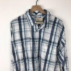 Wrangler button down shirt XXL blue white plaid